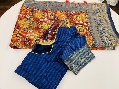 Orange and Blue Banaras Soft Pattu Saree