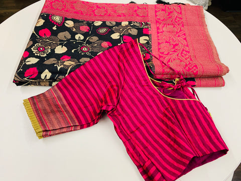 Black and Pink Banaras Soft Pattu Saree