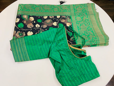Black and Green Banaras Soft Pattu Saree