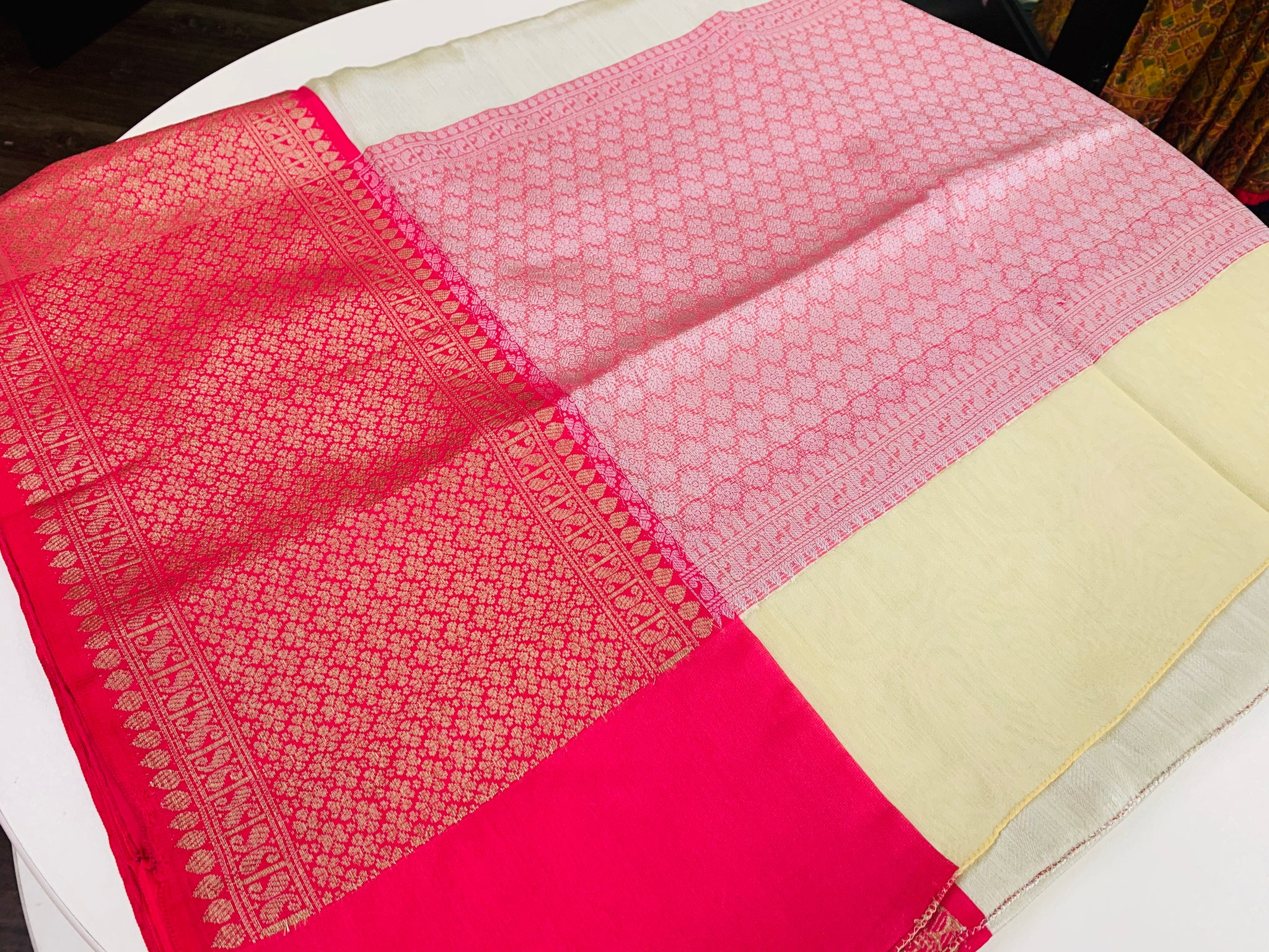 Silver and Pink Kanchi Tissue Saree