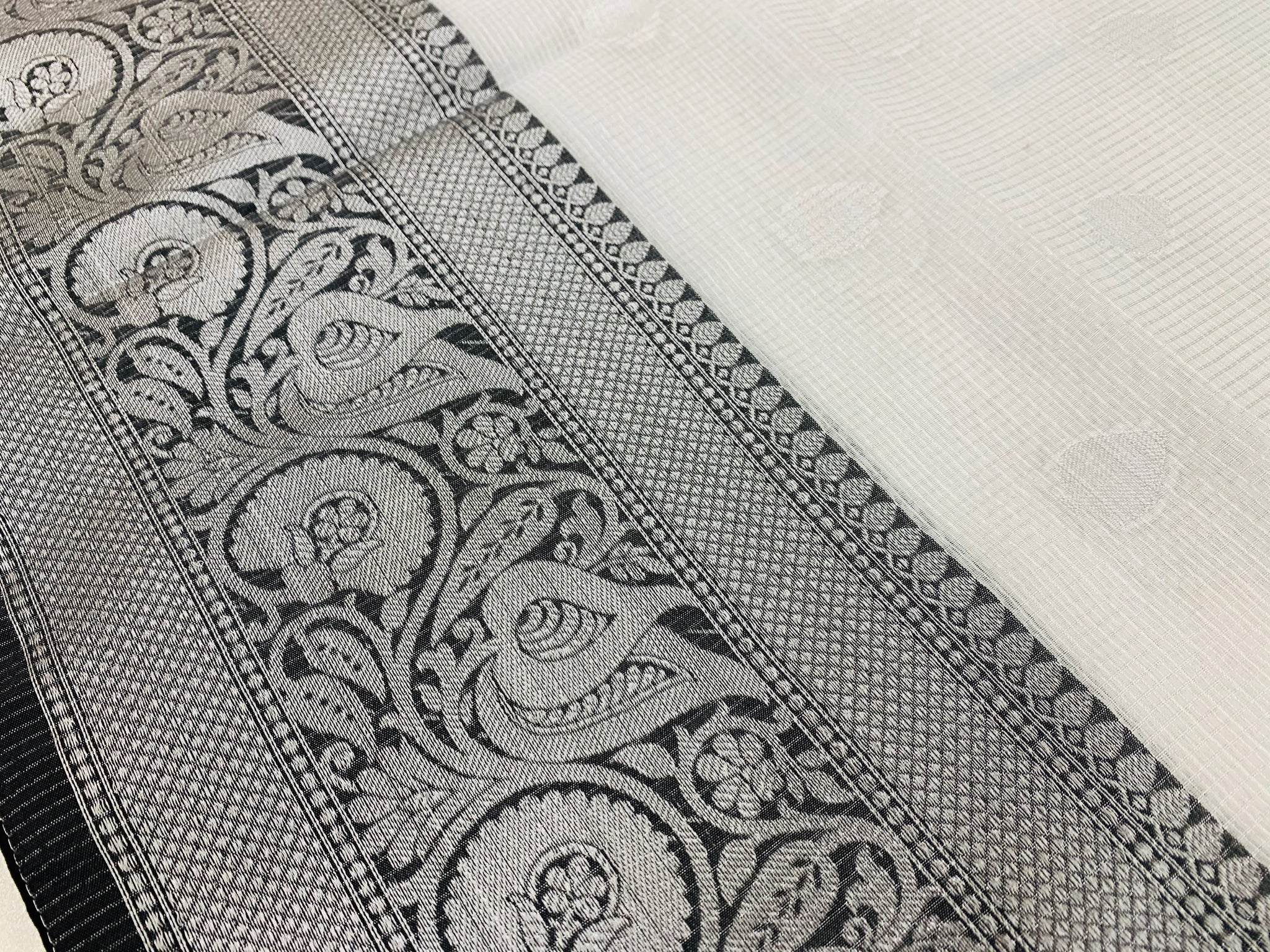 Silver and Black Tissue Kota Saree