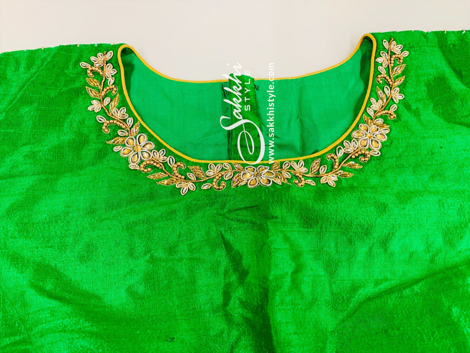 Green Embroidered Customized Blouse