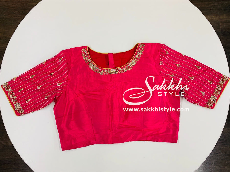 Pink Embroidered Customized Blouse