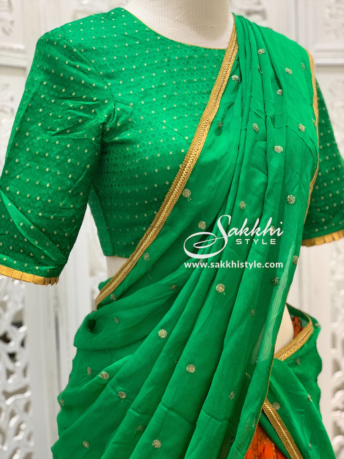Green and Orange Lehenga Choli