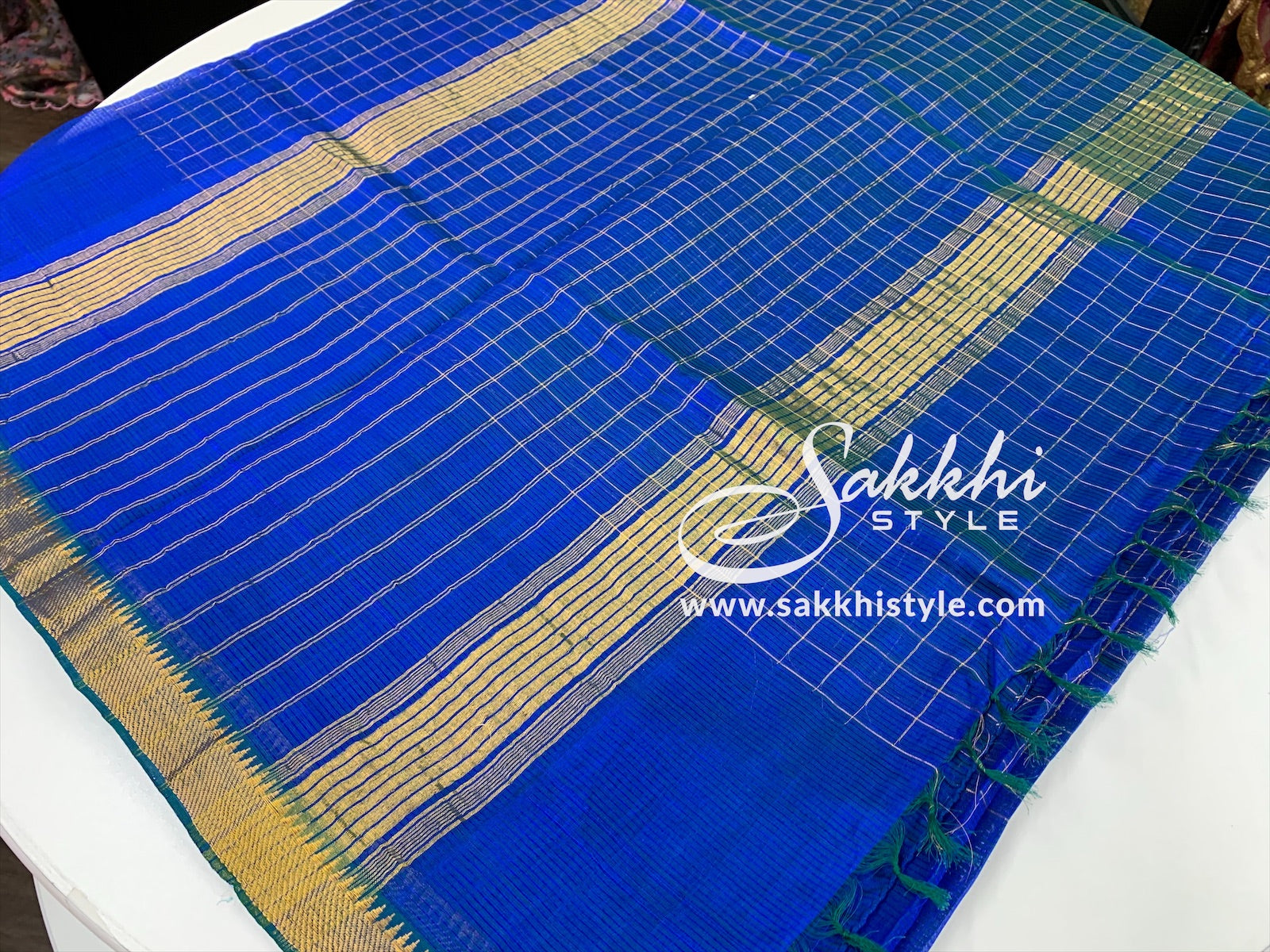Blue and Gold Mangalagiri Silk Saree