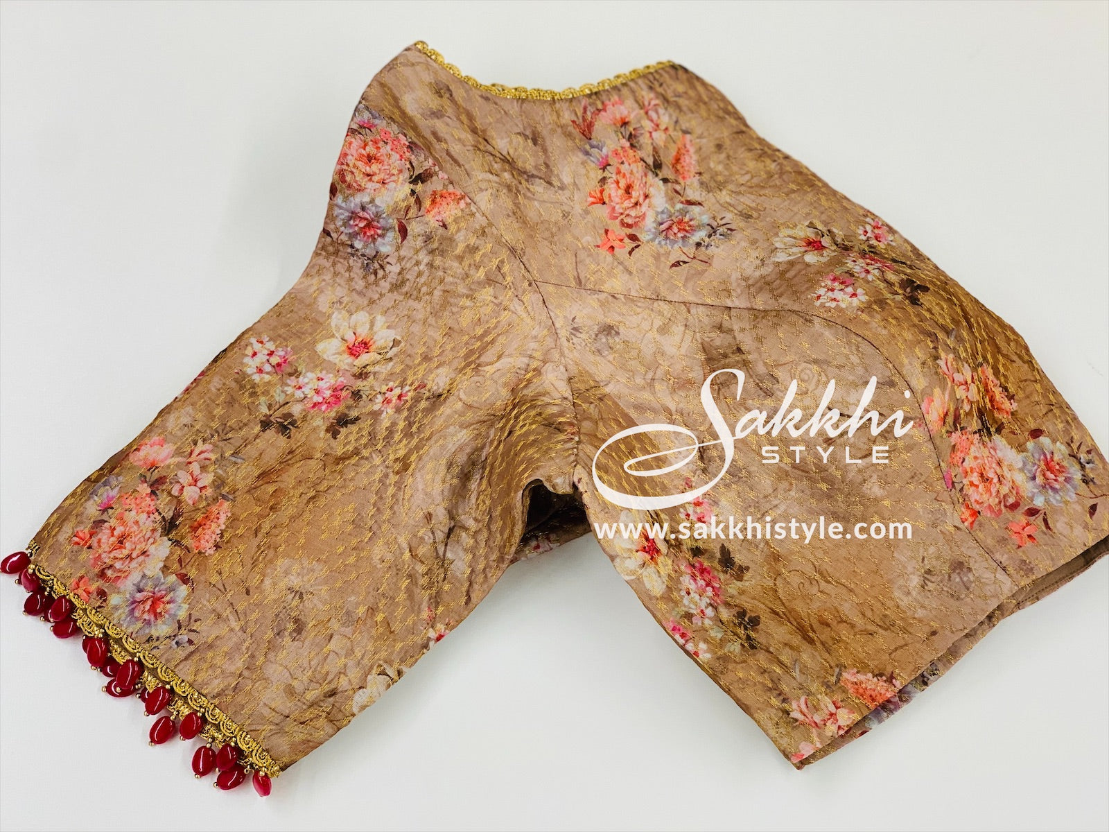 Brown Floral Customized Blouse
