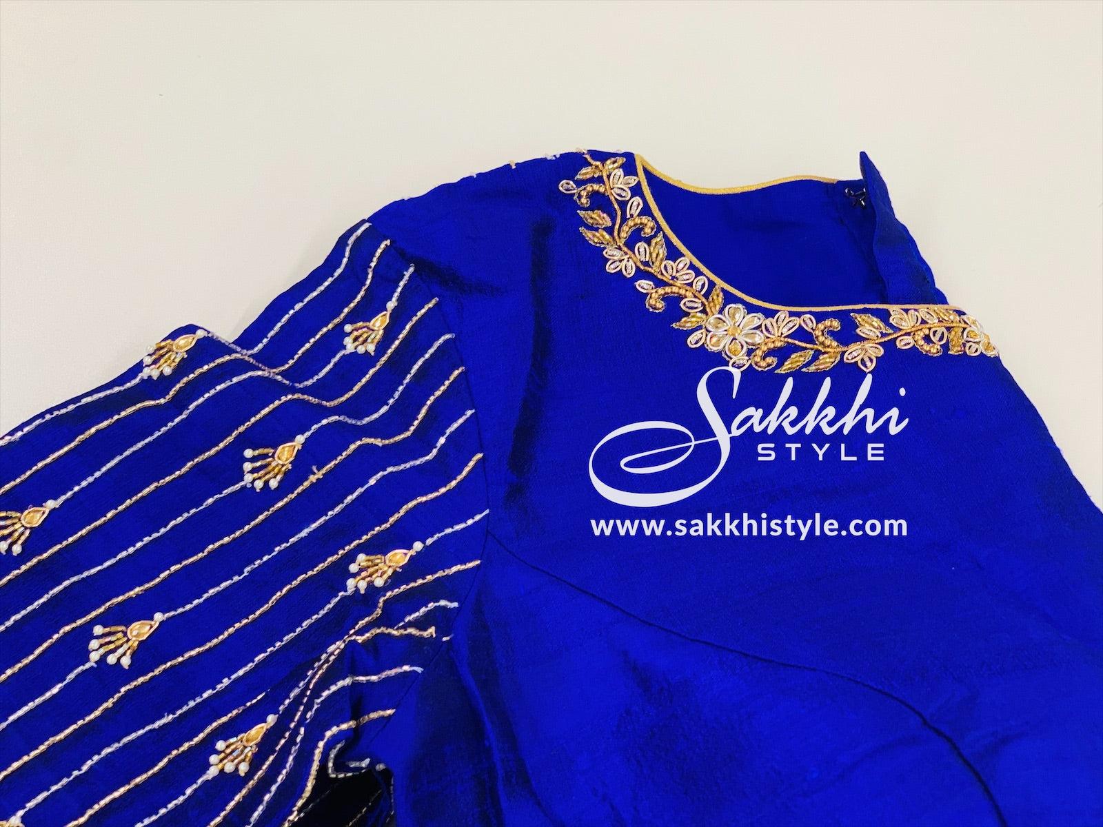 Blue Embroidered Customized Blouse