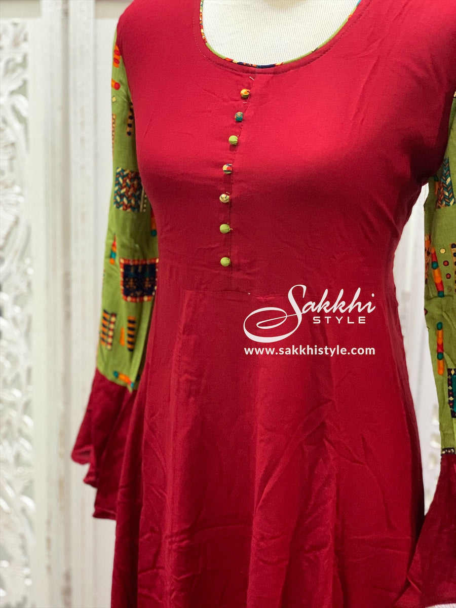 Red and Green Bell Sleeves Kurti