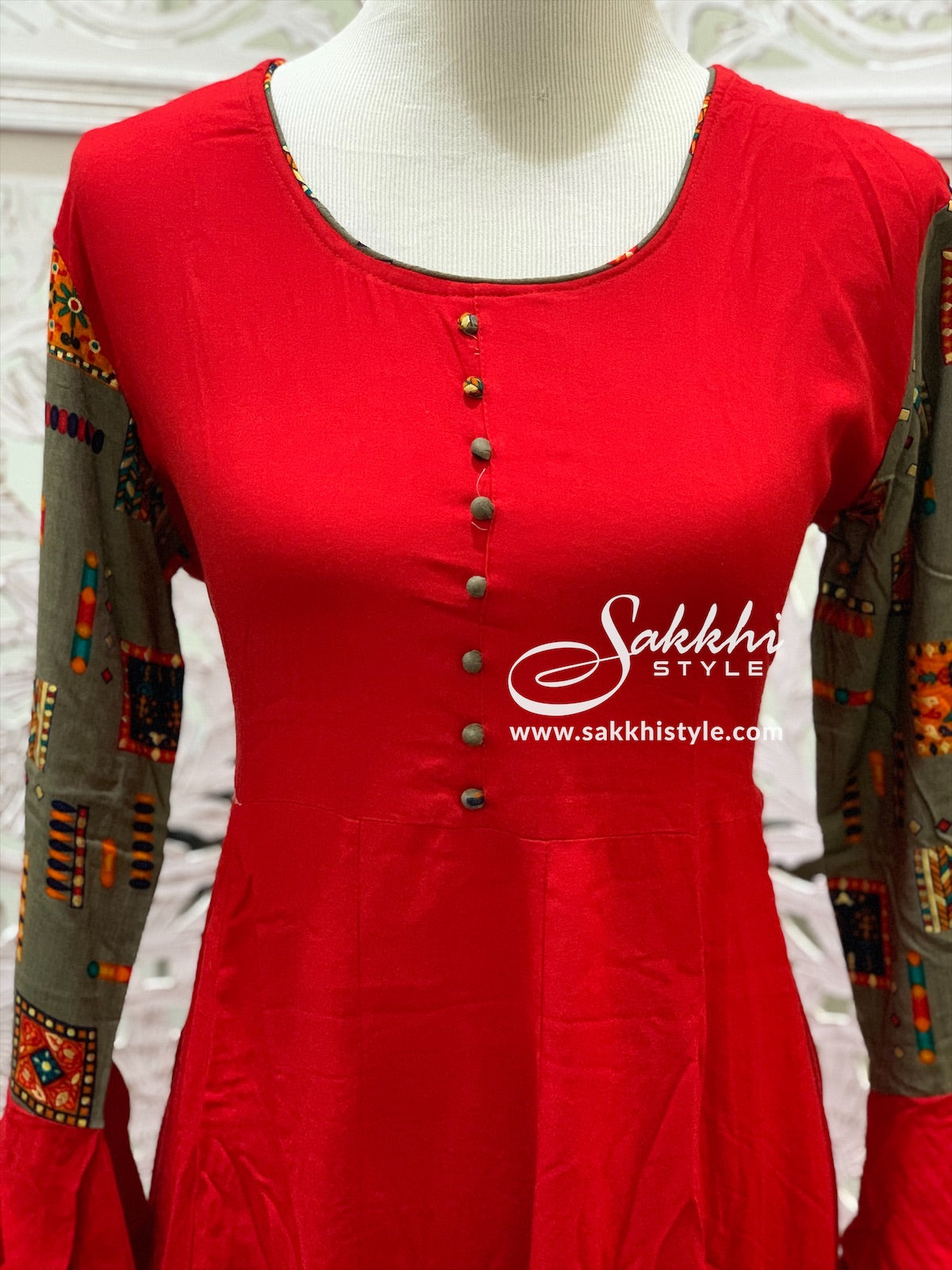 Red and Grey Bell Sleeves Kurti