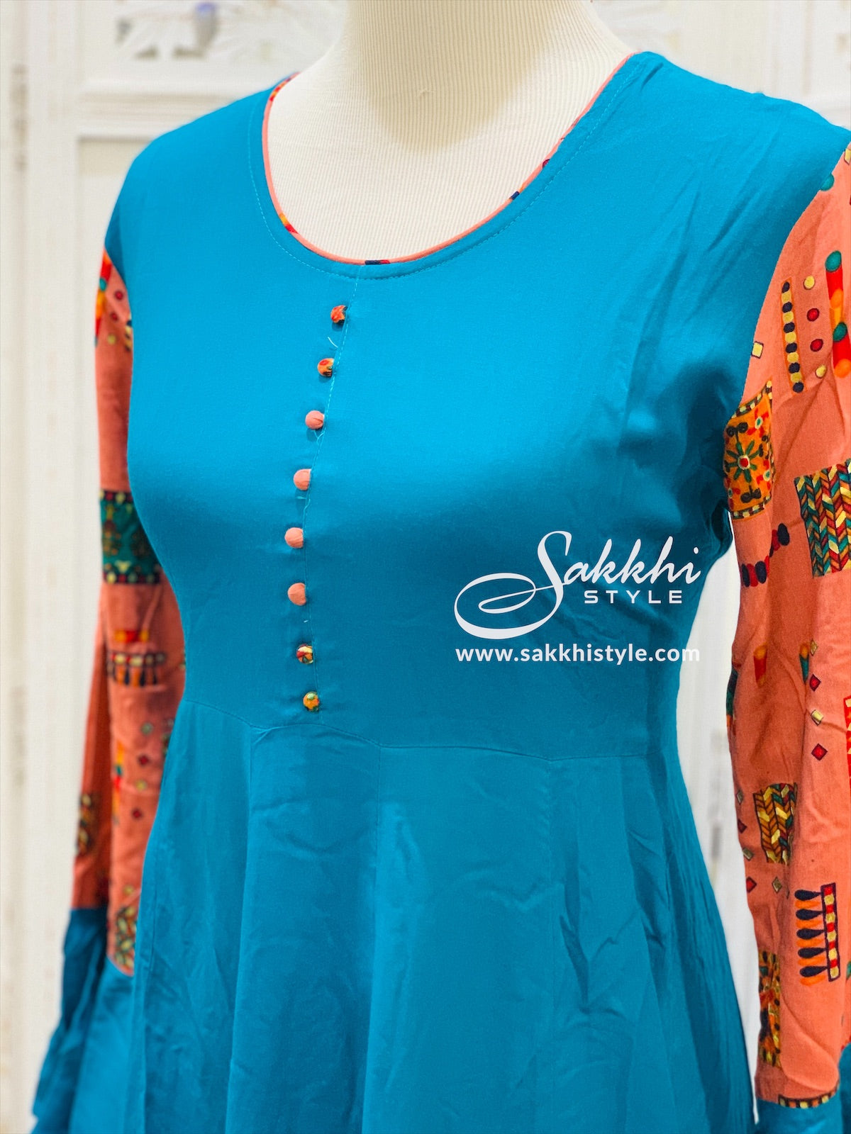 Blue and Peach Bell Sleeves Kurti