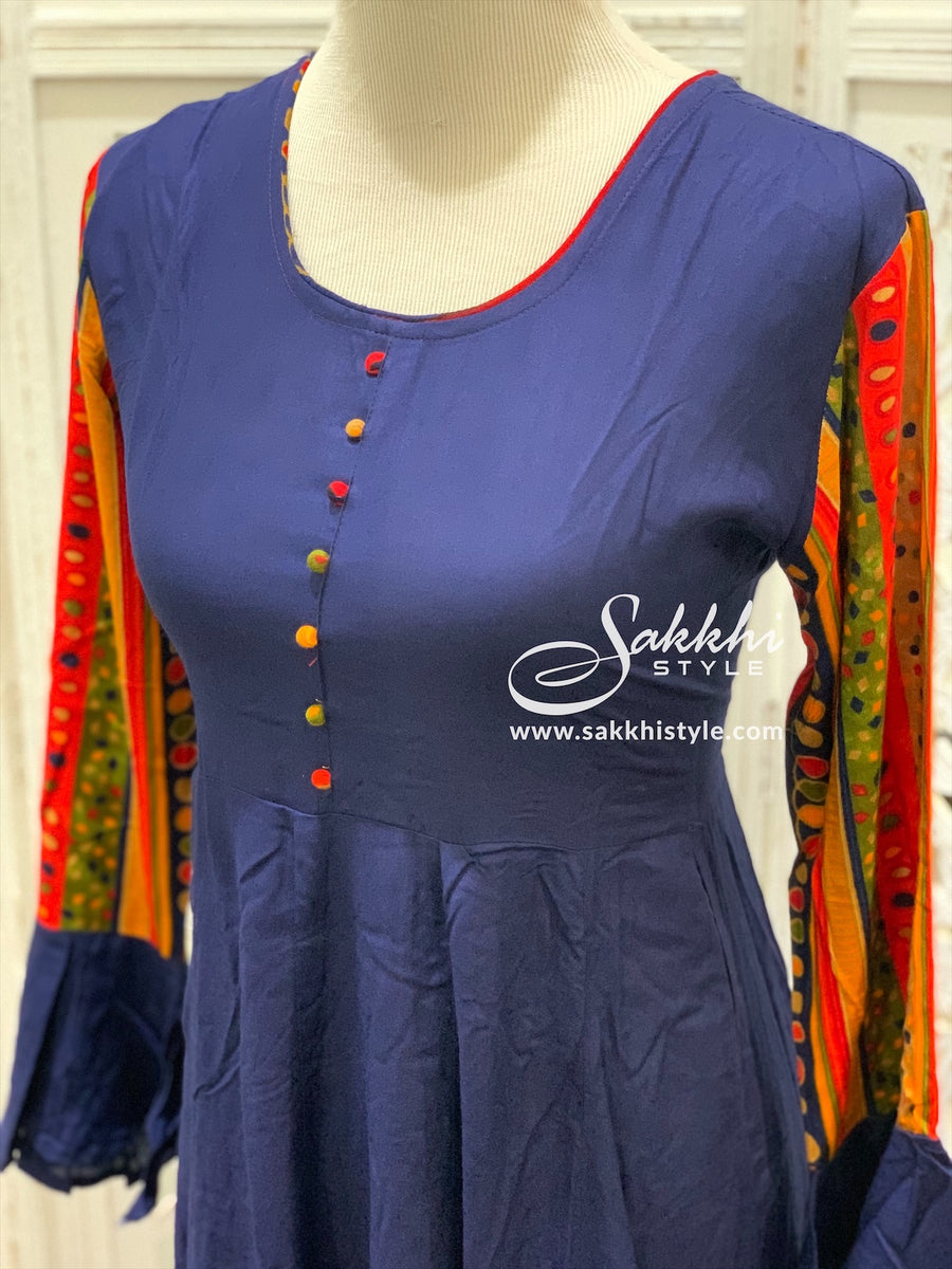Navy Blue Bell Sleeves Kurti