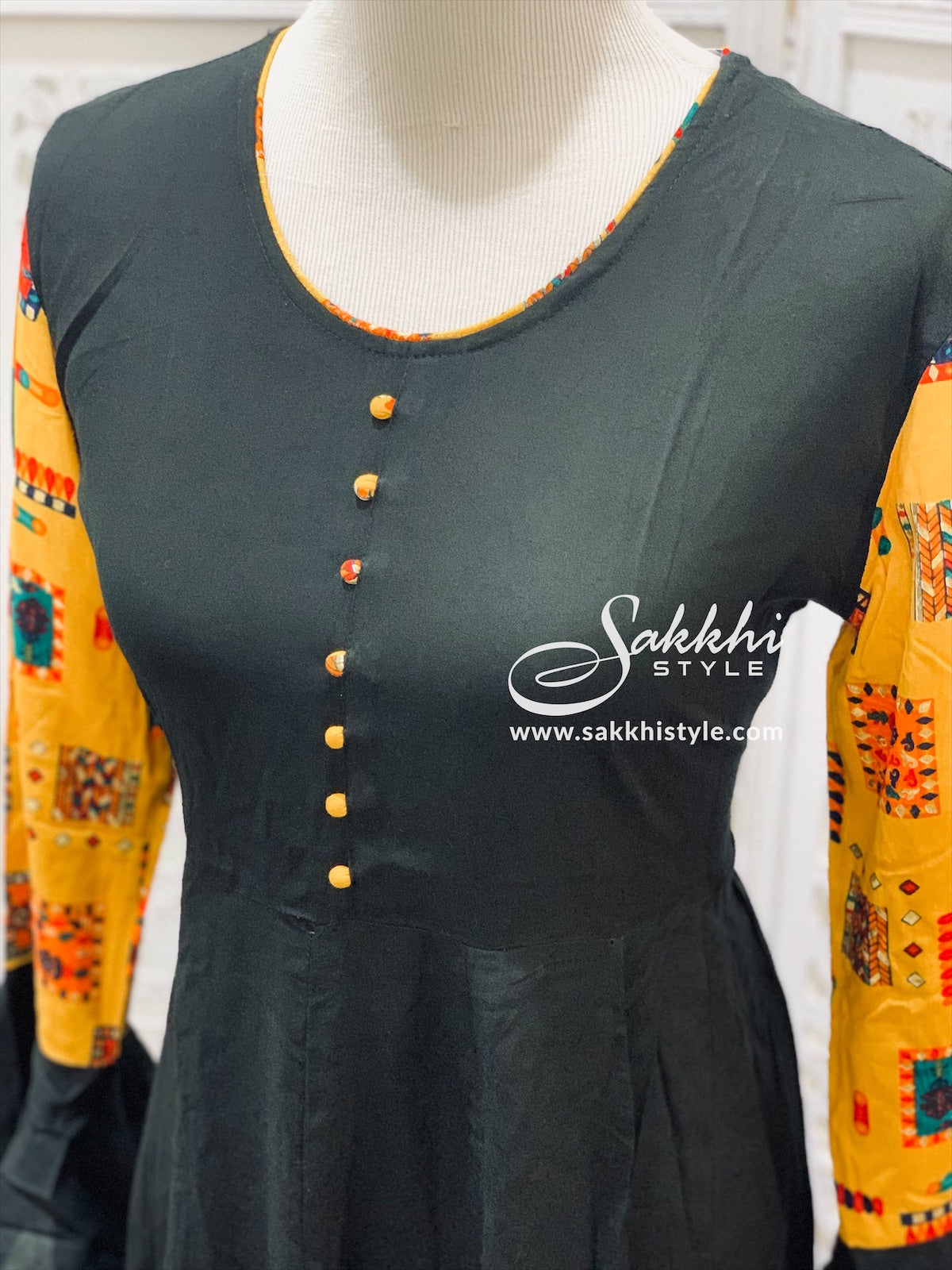 Black and Yellow Bell Sleeves Kurti