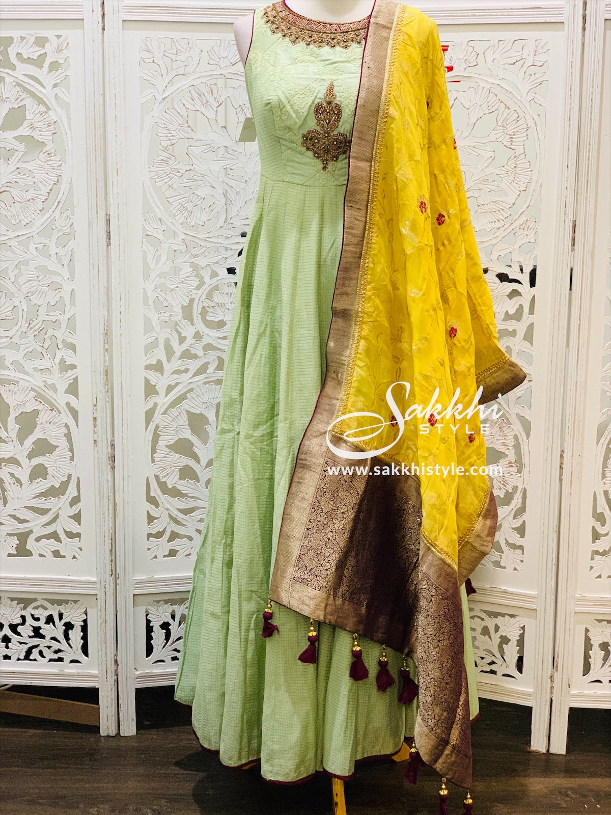 Green and Yellow Anarkali Suit