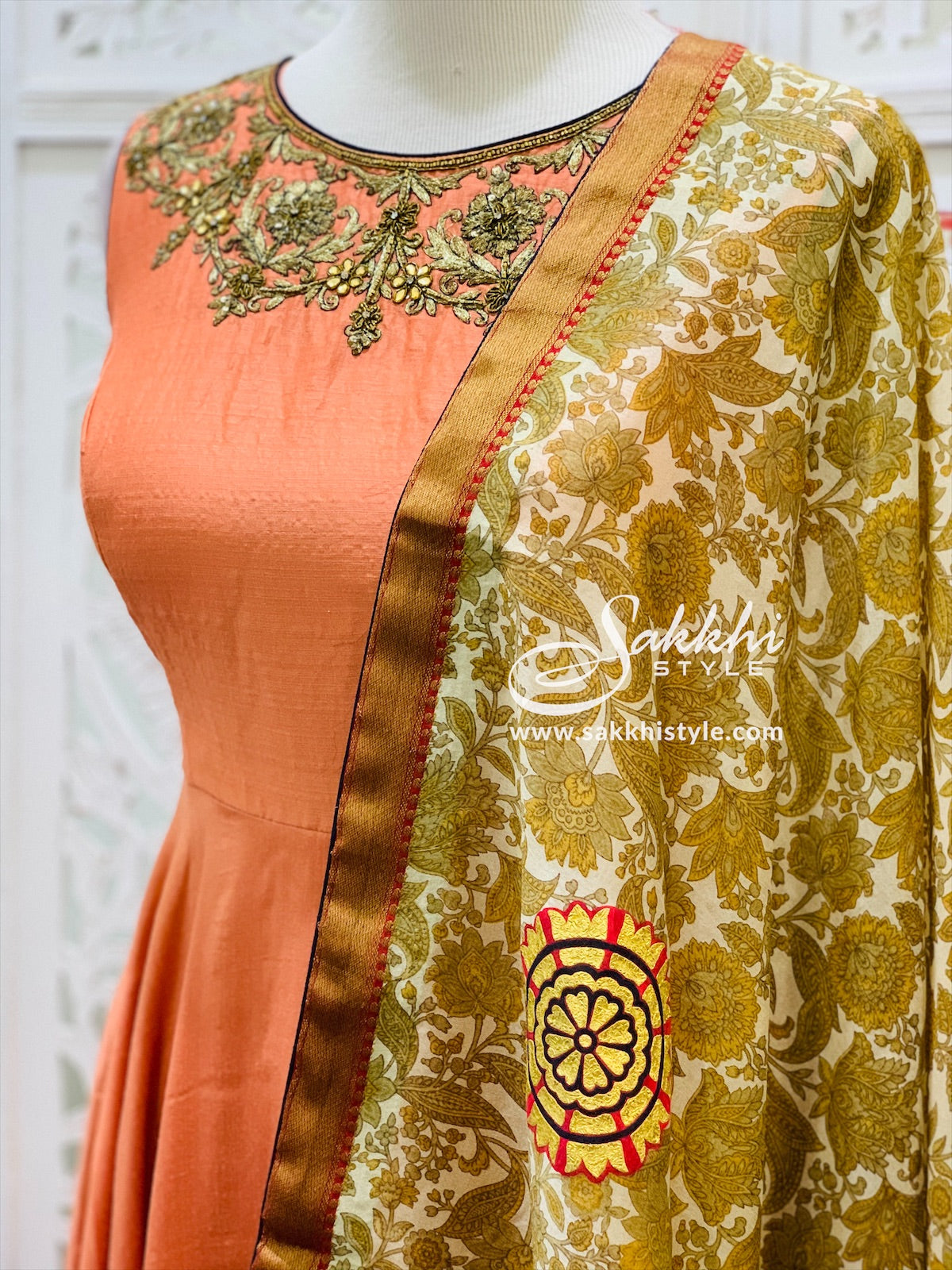 Peach and Gold Anarkali Suit