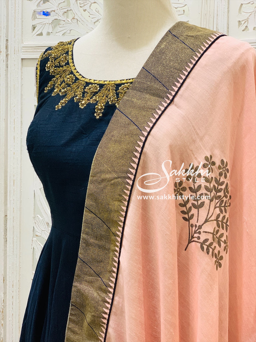 Navy Blue and Pink Anarkali Suit