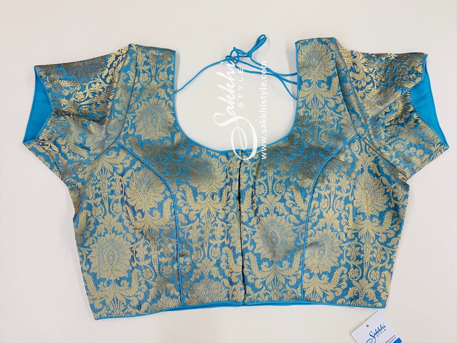 Blue Brocade Blouse
