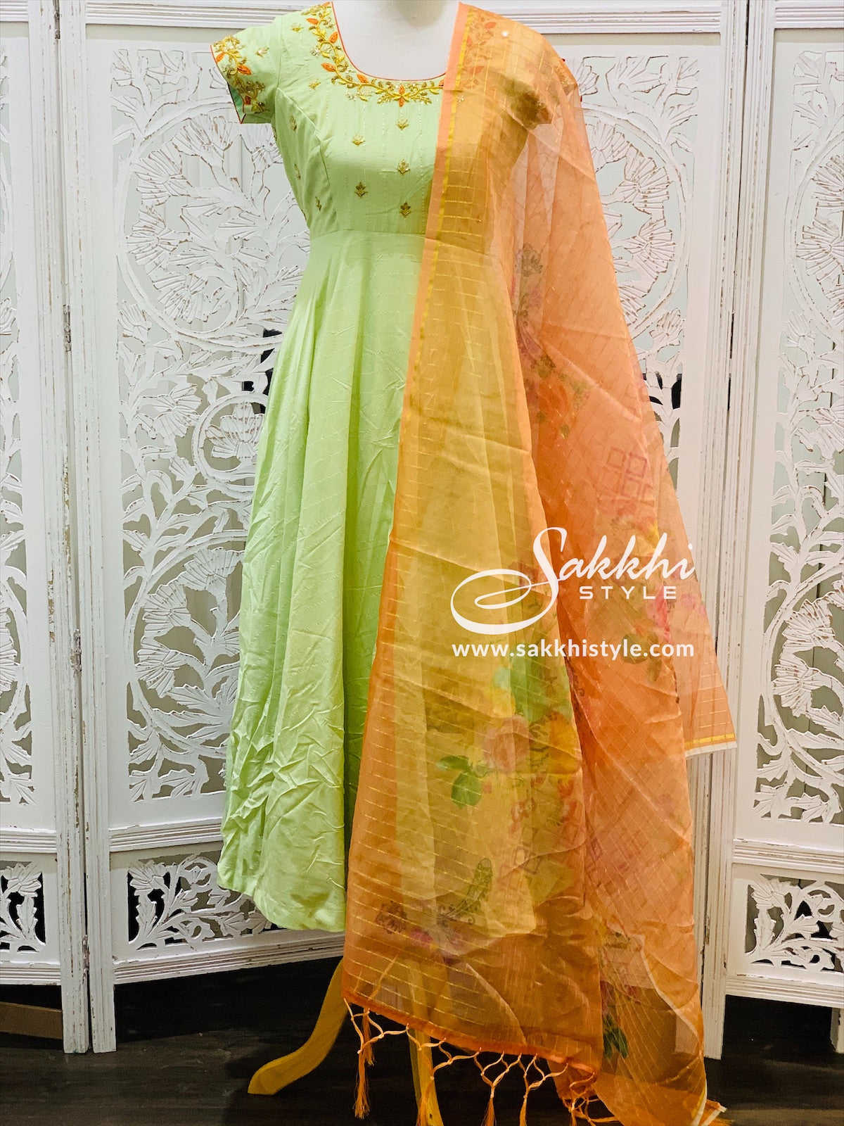 Pastel Green and Peach Anarkali Suit