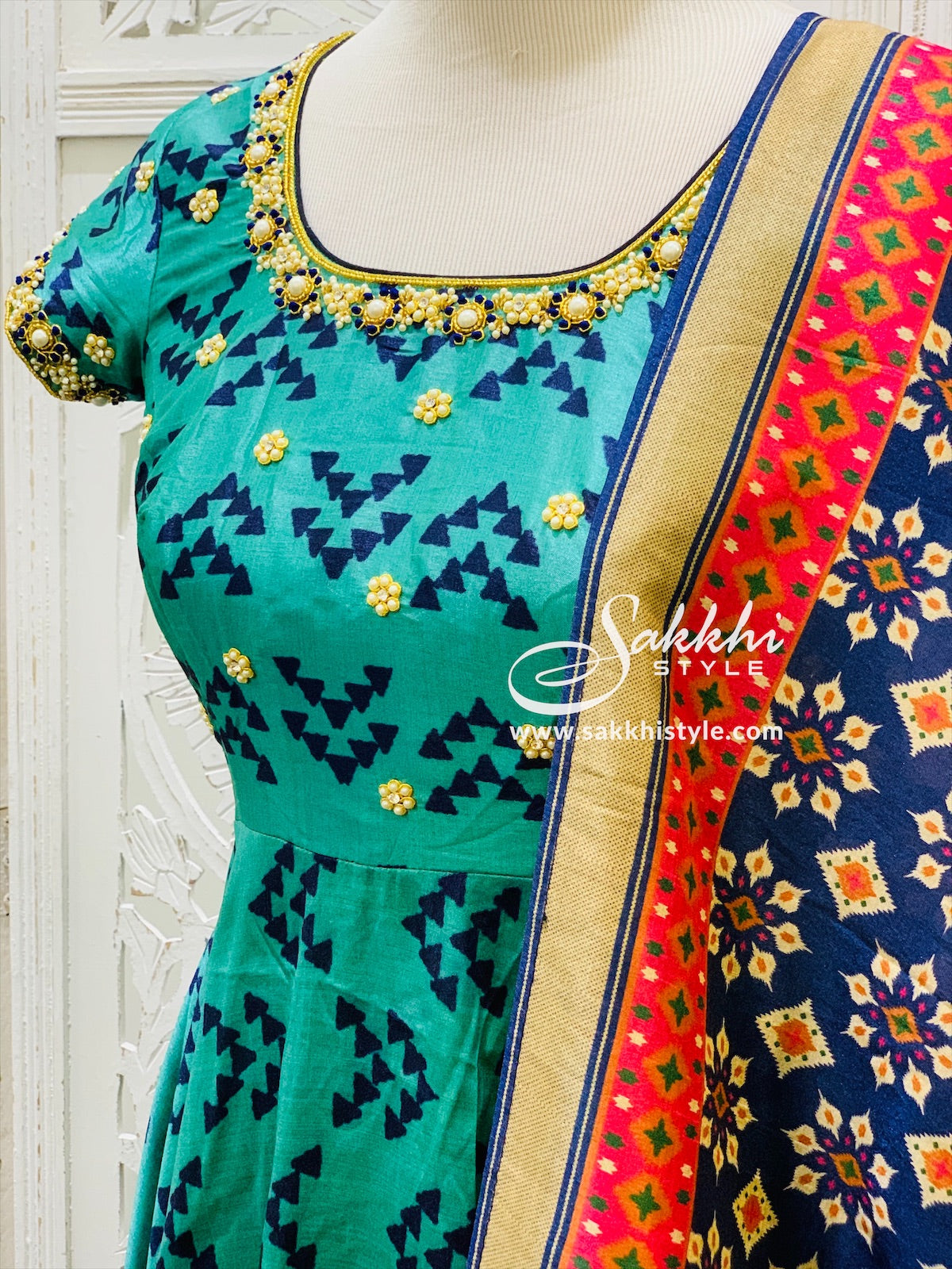 Blue and Navy Blue Anarkali Suit