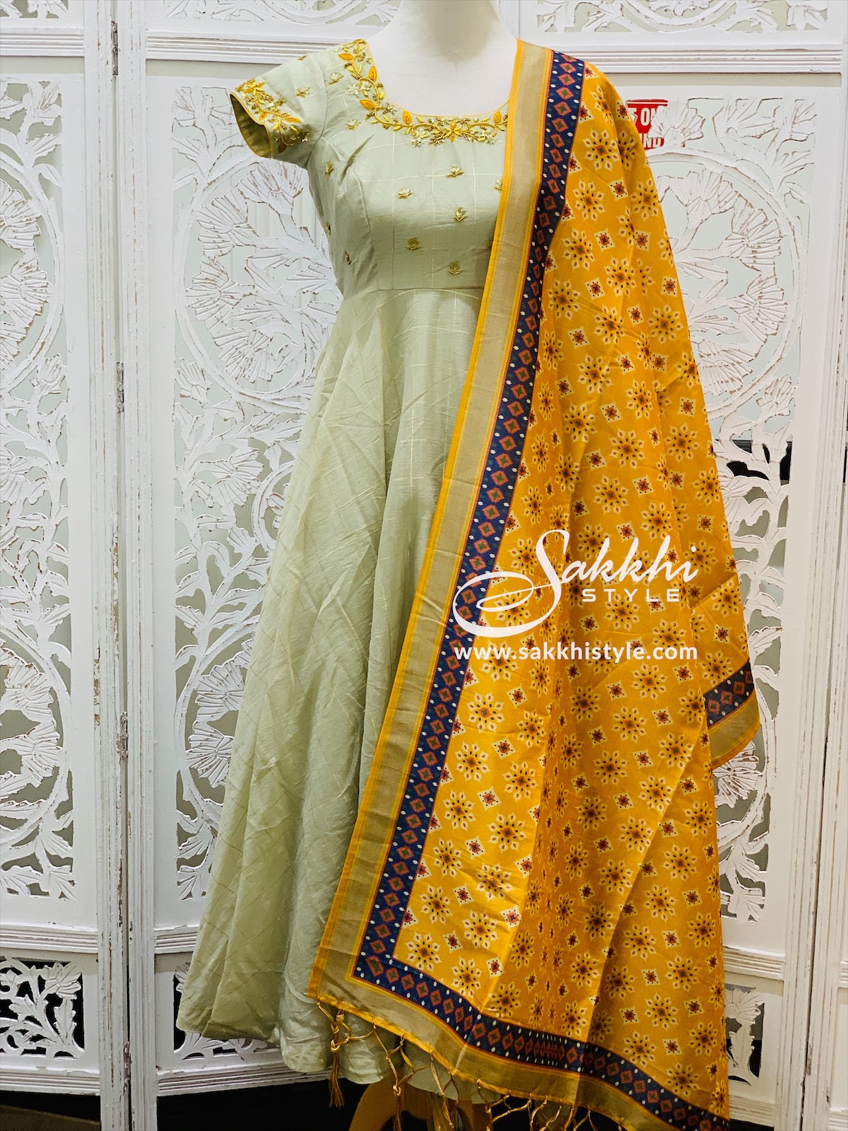 Beige and Yellow Anarkali Suit