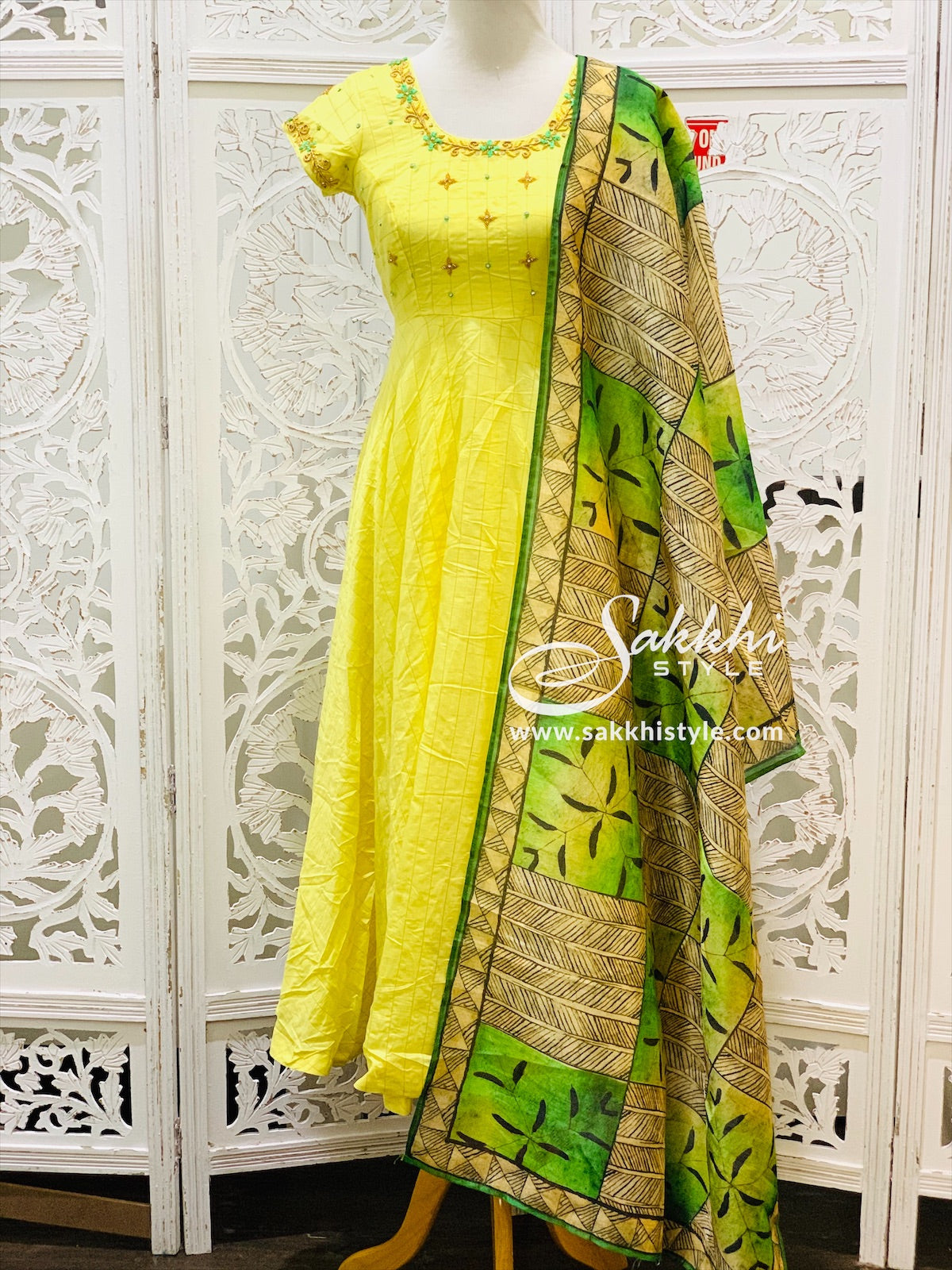 Yellow and Green Anarkali Suit