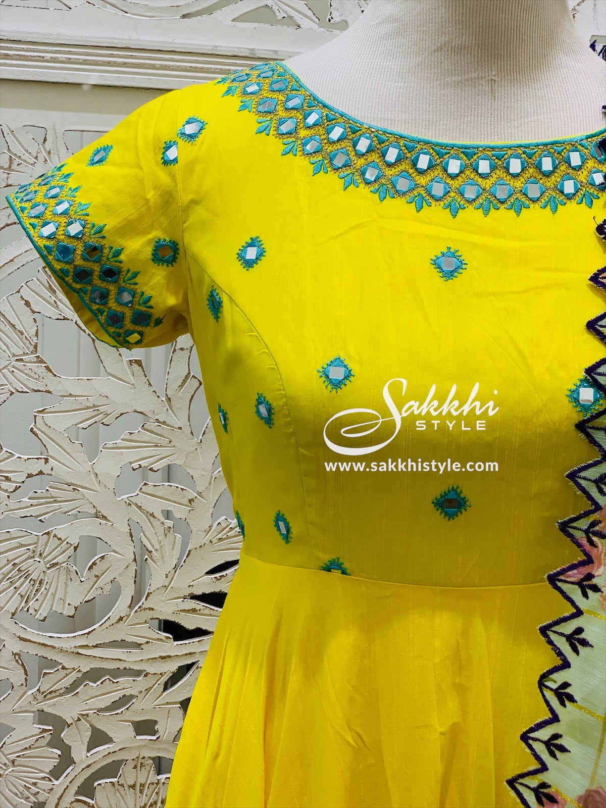 Yellow and Blue Anarkali Suit
