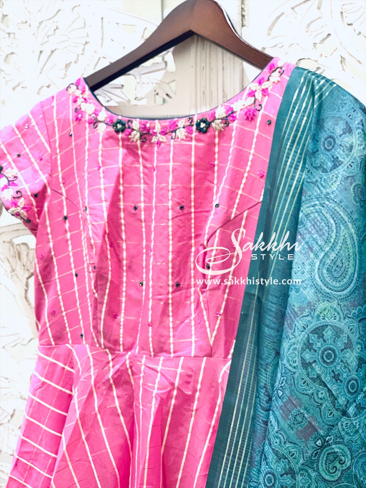 Pink and Blue Anarkali Suit