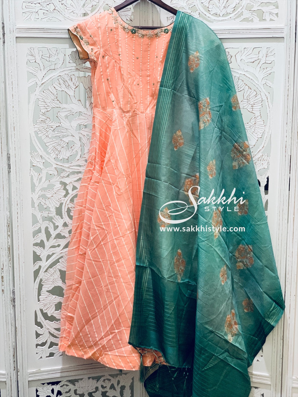 Peach and Green Anarkali Suit