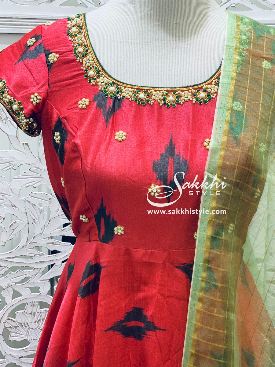 Light Red and Green Anarkali Suit