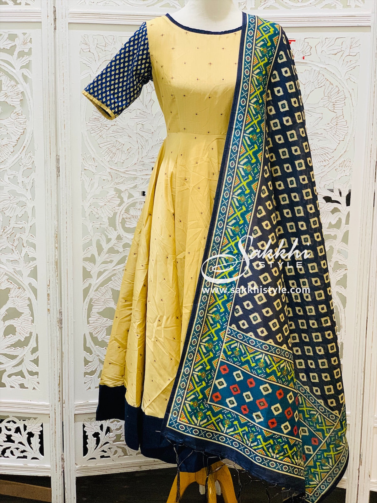 Gold and Navy Blue Anarkali Suit - Sakkhi Style