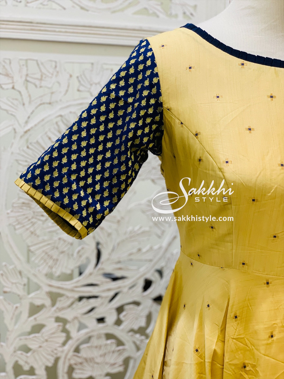 Gold and Navy Blue Anarkali Suit