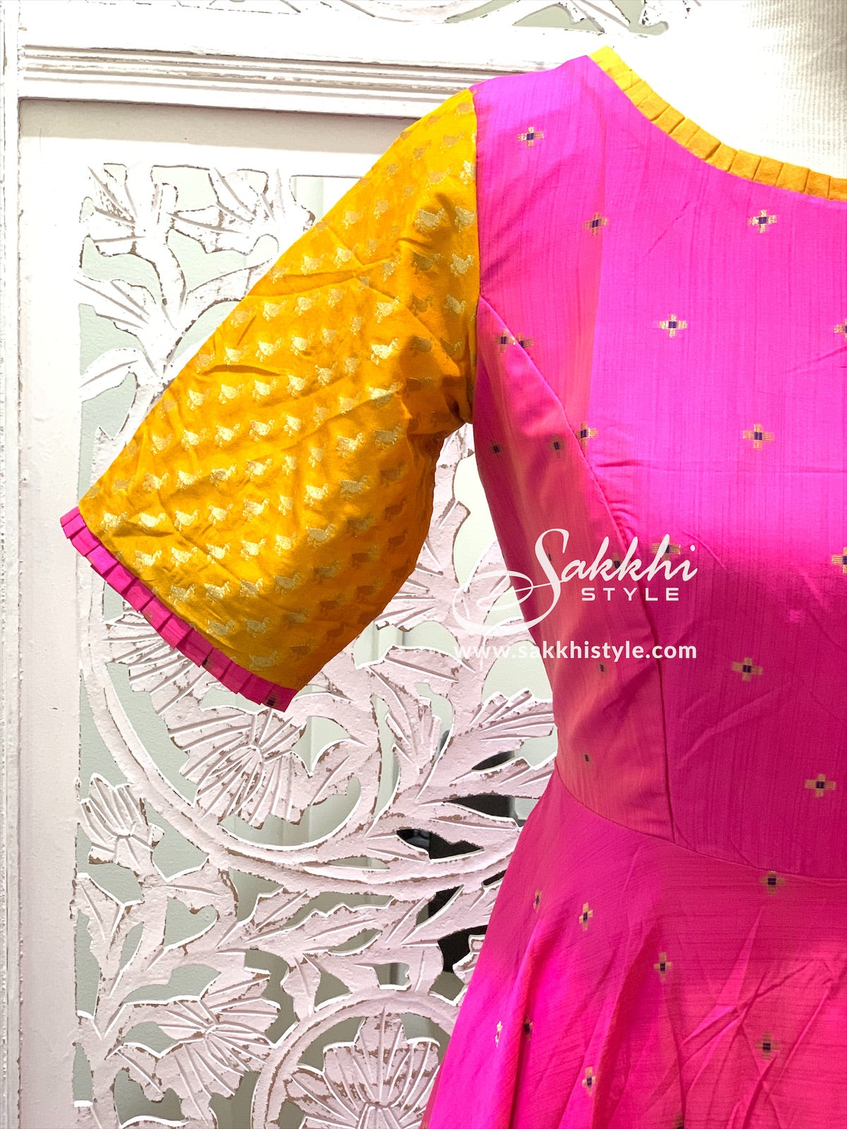 Pink and Yellow Anarkali Suit
