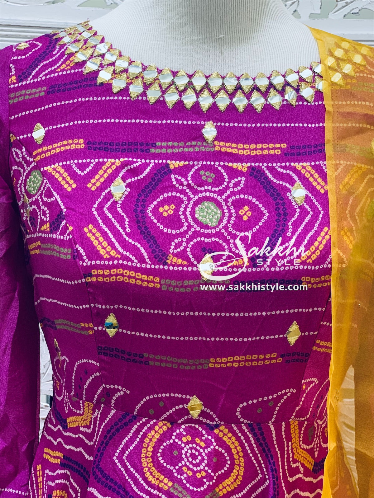Fuchsia Pink and Yellow Bandhani Anarkali Suit