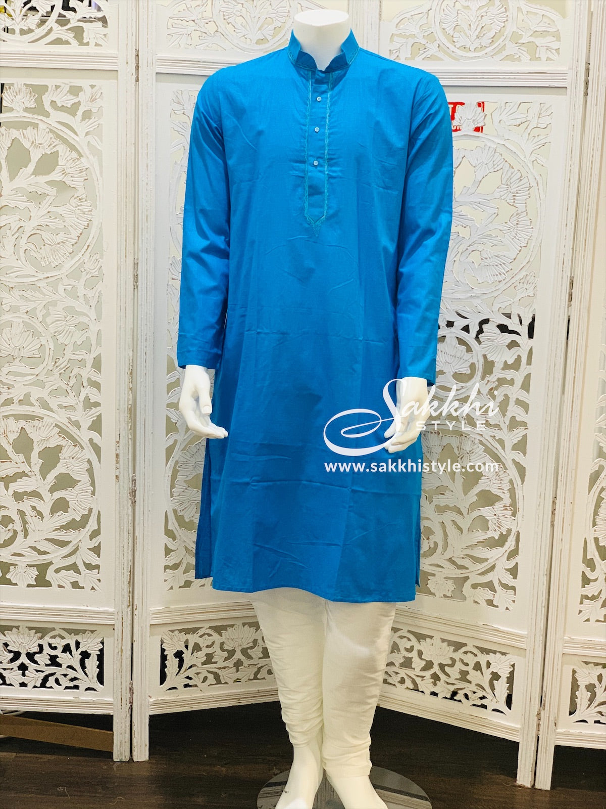Blue and White Kurta Pyjama