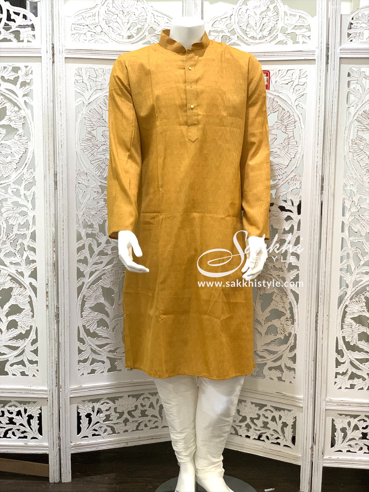 Brown and White Kurta Pyjama