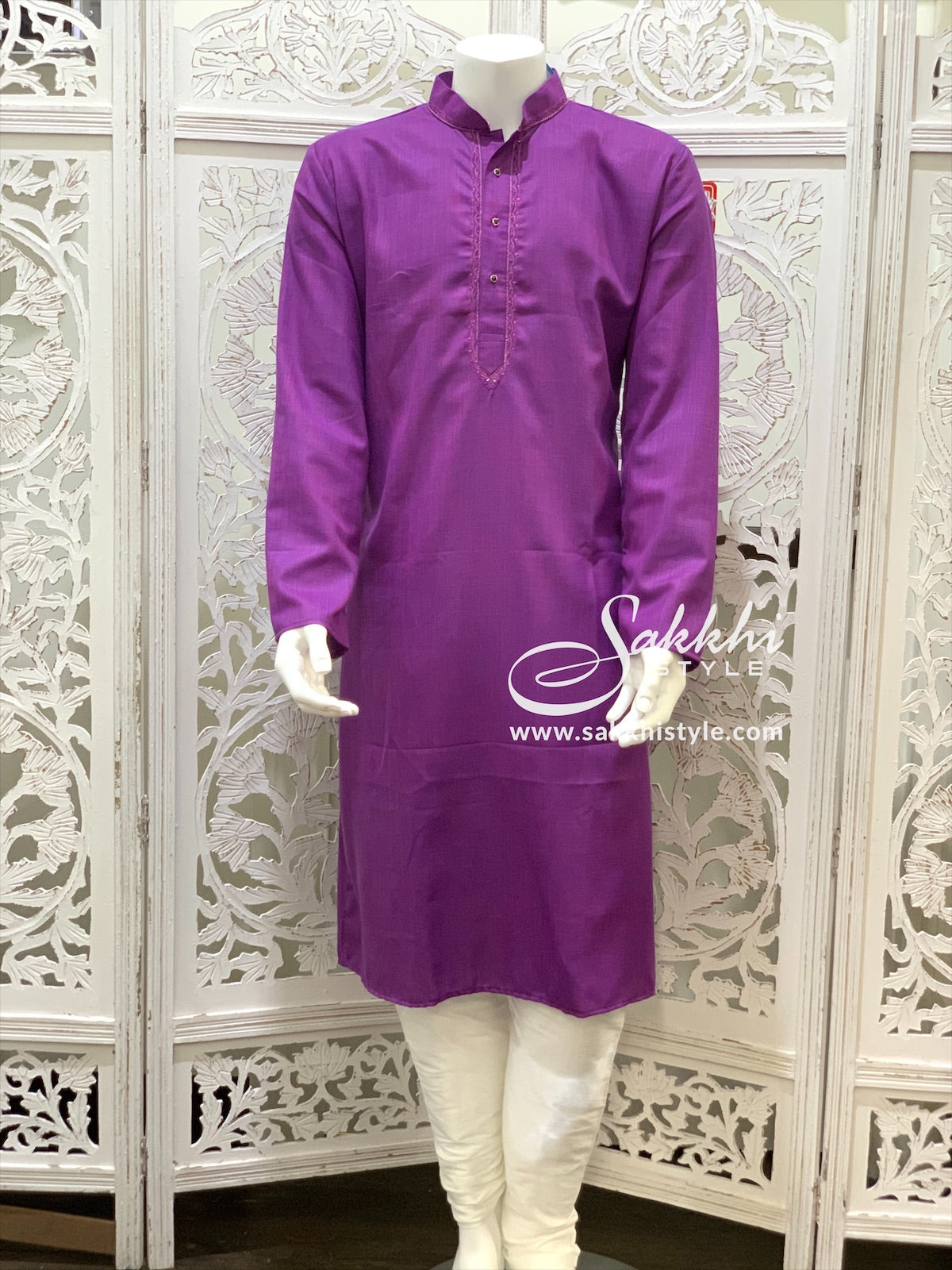 Purple and White Kurta Pyjama