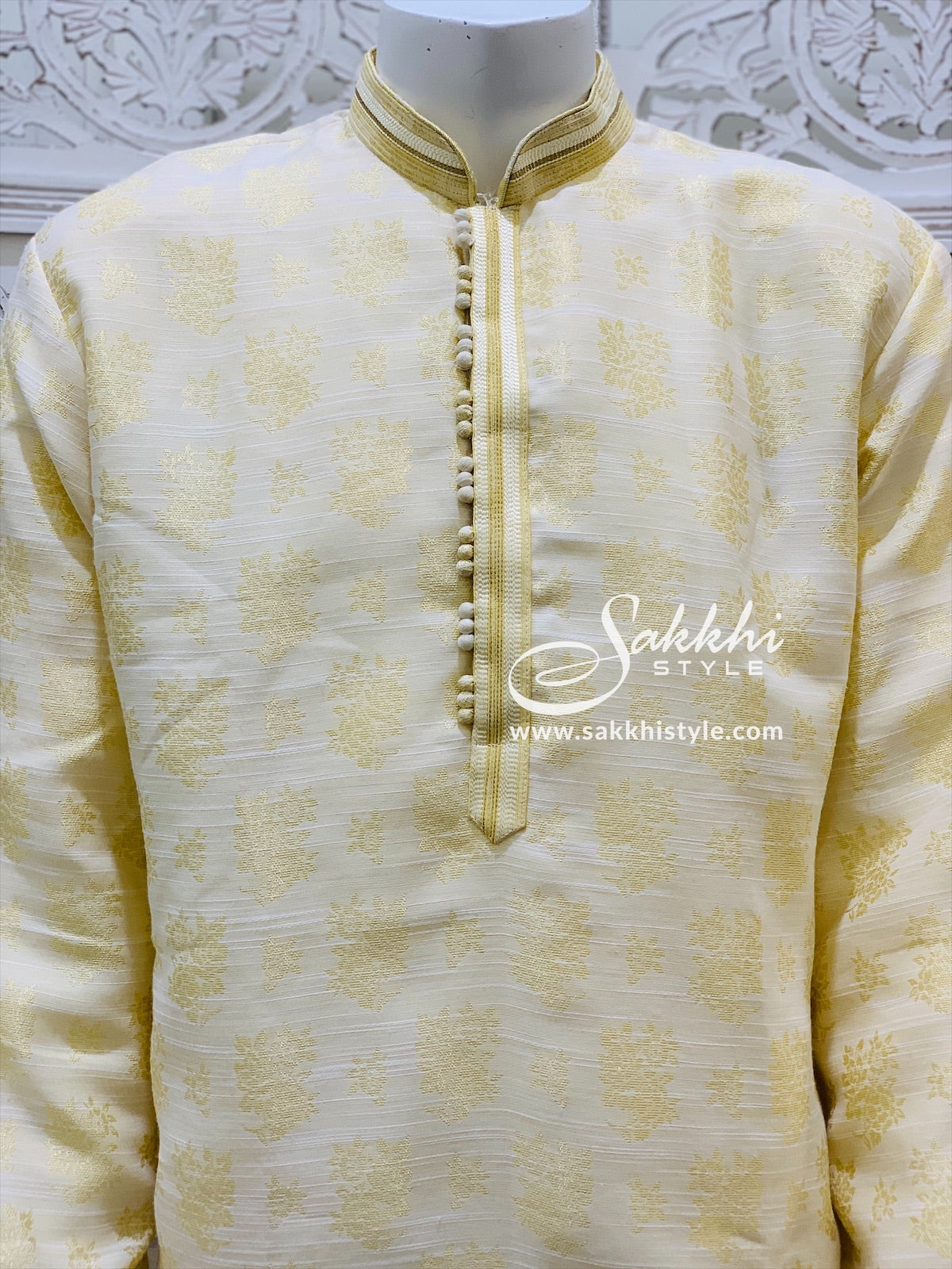 Cream and White Kurta Pyjama
