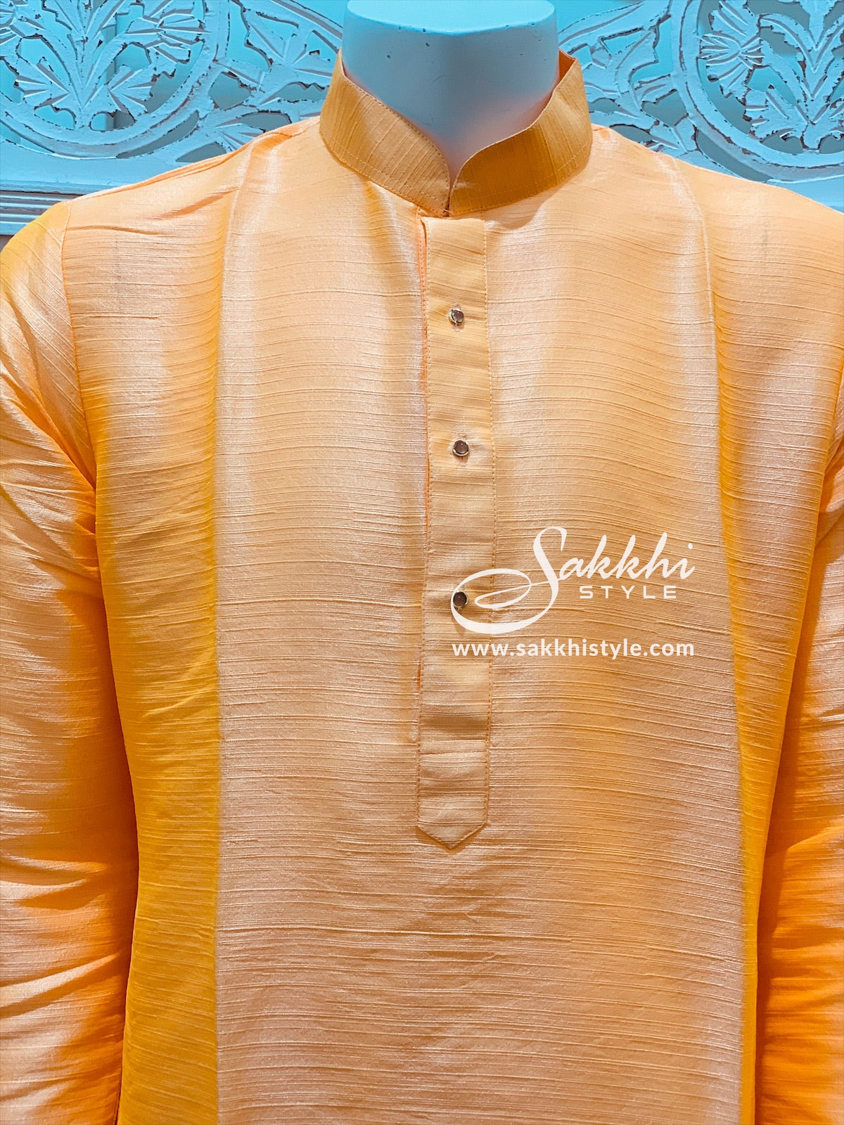 Peach and White Kurta Pyjama
