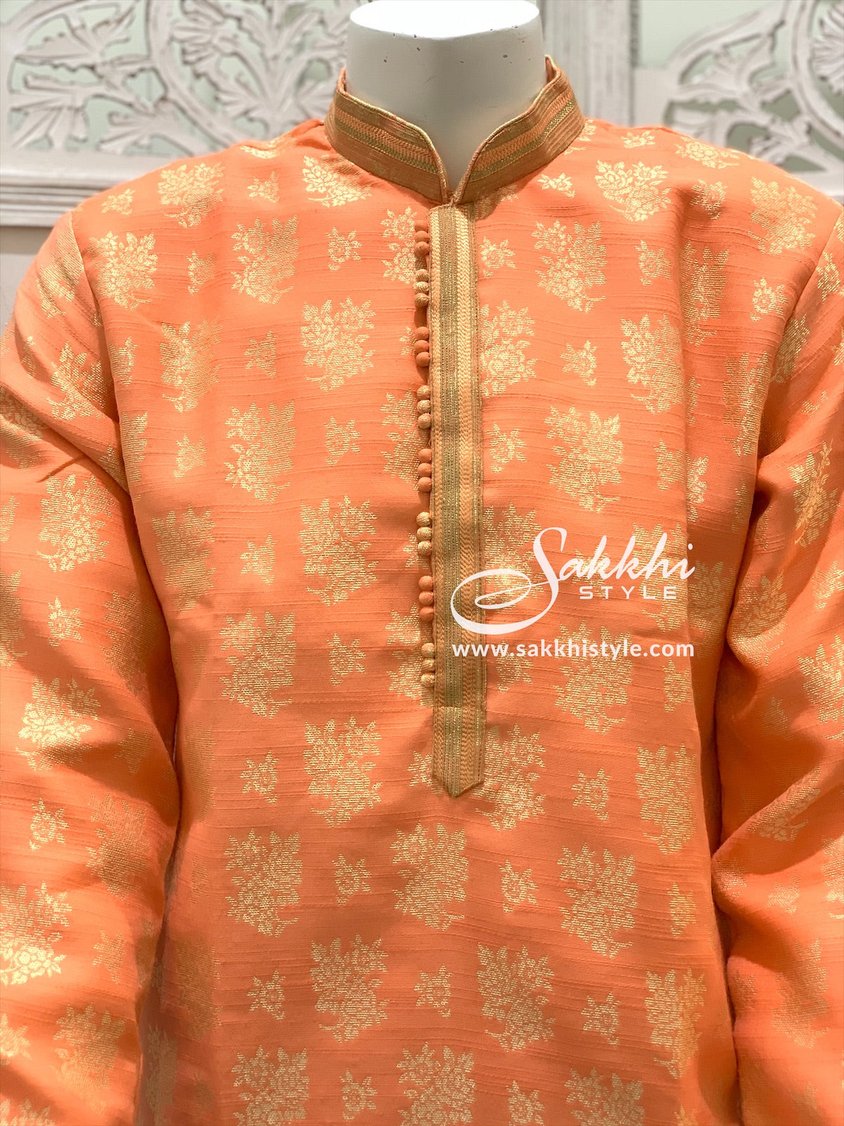 Peach and Cream Kurta Pyjama