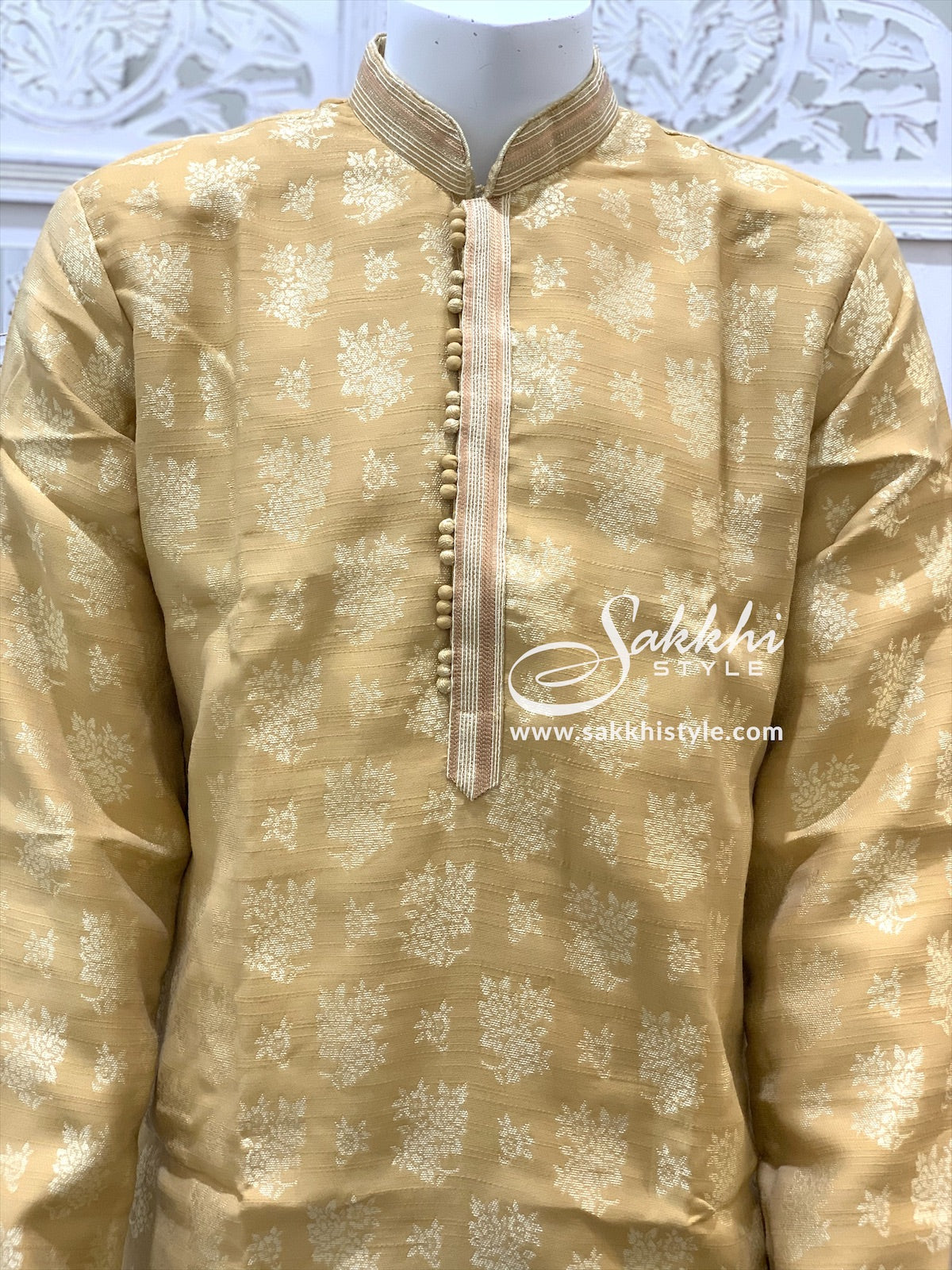 Beige and Cream Kurta Pyjama - Sakkhi Style