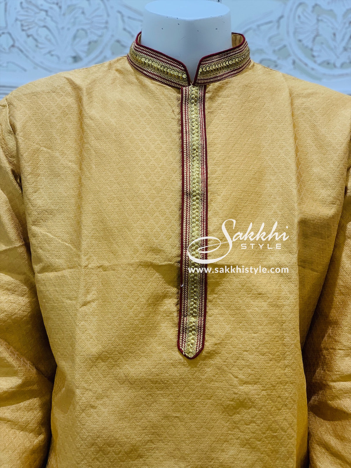 Gold and Maroon Kurta Pyjama