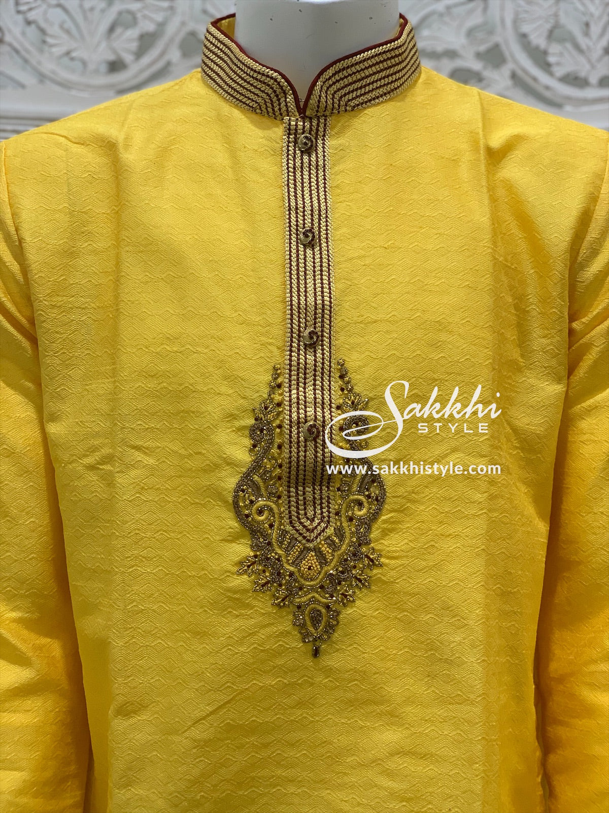 Yellow and Maroon Kurta Pyjama