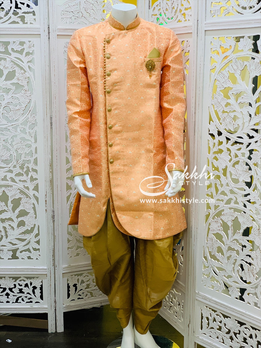 Peach and Gold Indo-Western Kurta Pyjama