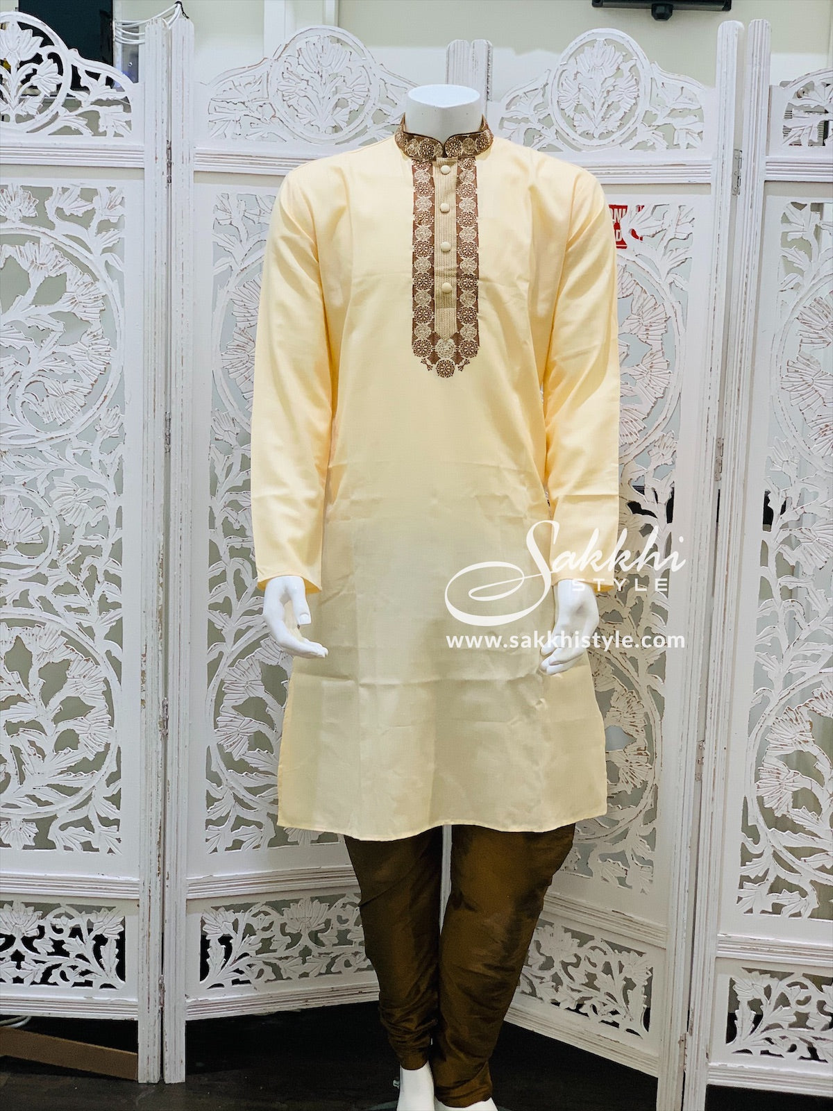 Pastel Peach and Brown Kurta Pyjama - Sakkhi Style