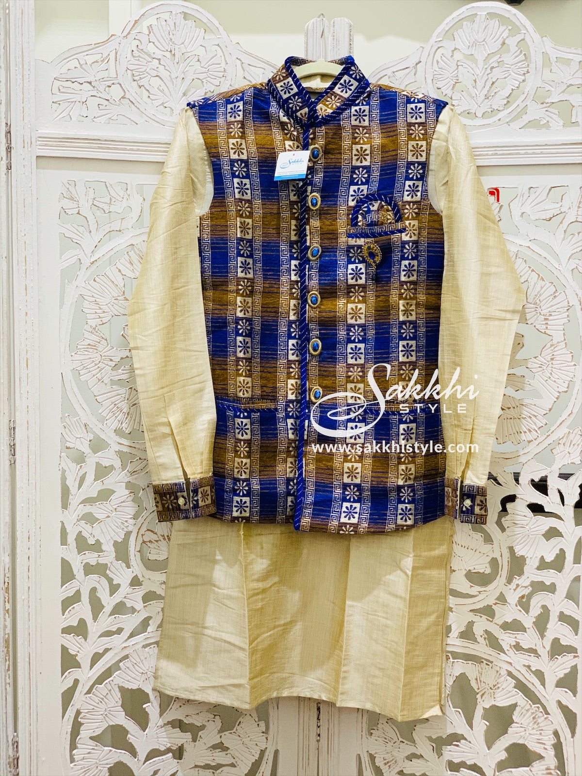 Blue and Gold Kurta Pyjama with Jacket
