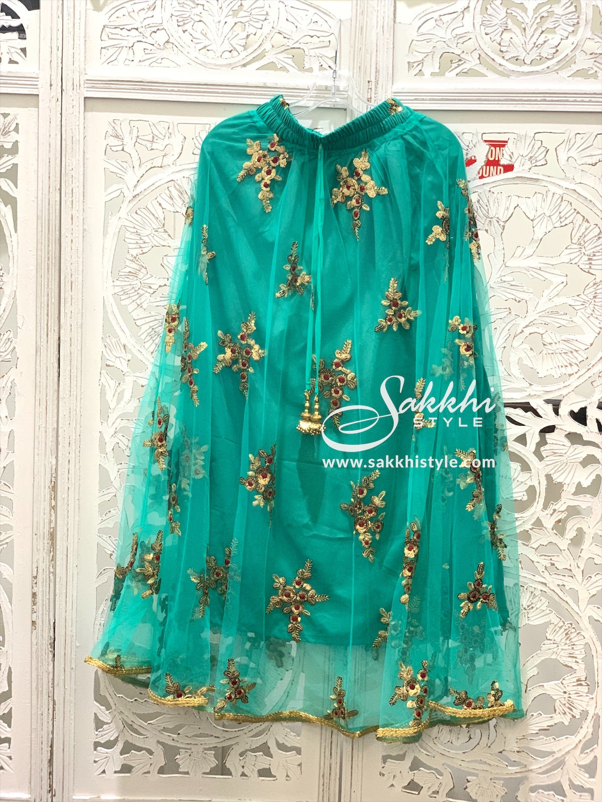 Turquoise Embroidered Skirt - Sakkhi Style