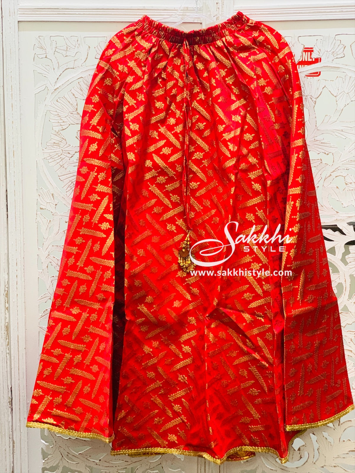 Red Embroidered Skirt