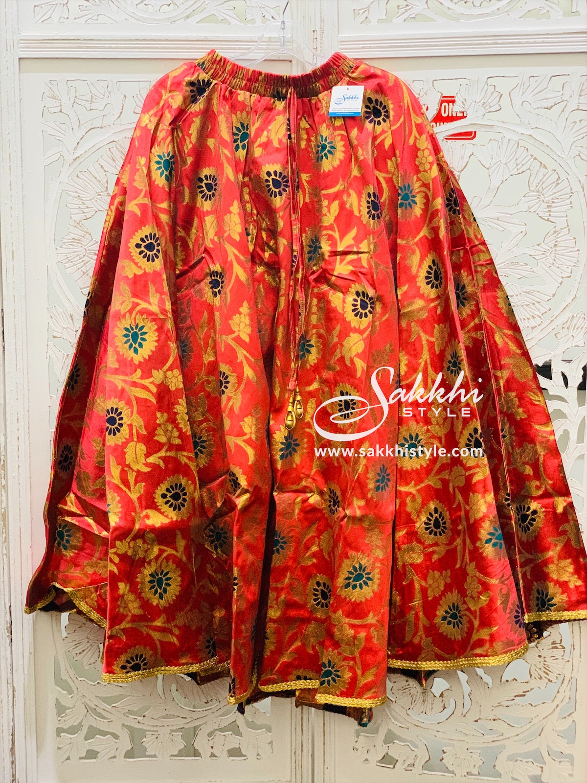 Red Brocade Skirt - Sakkhi Style