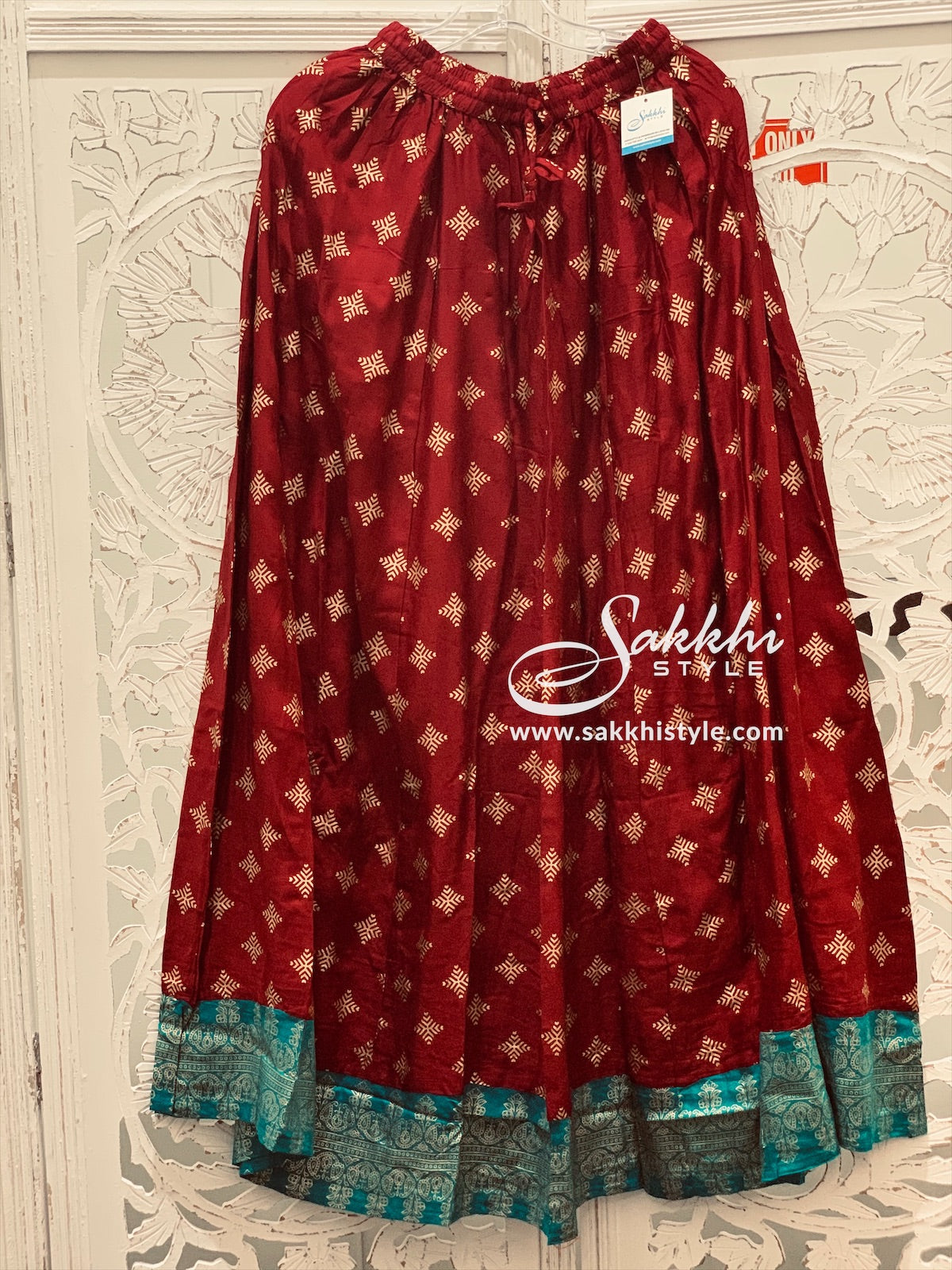 Maroon and Blue Skirt - Sakkhi Style