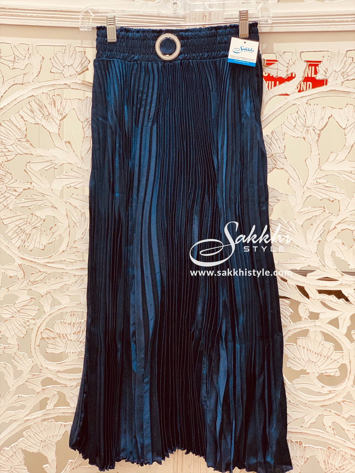 Blue Pleated Skirt - Sakkhi Style