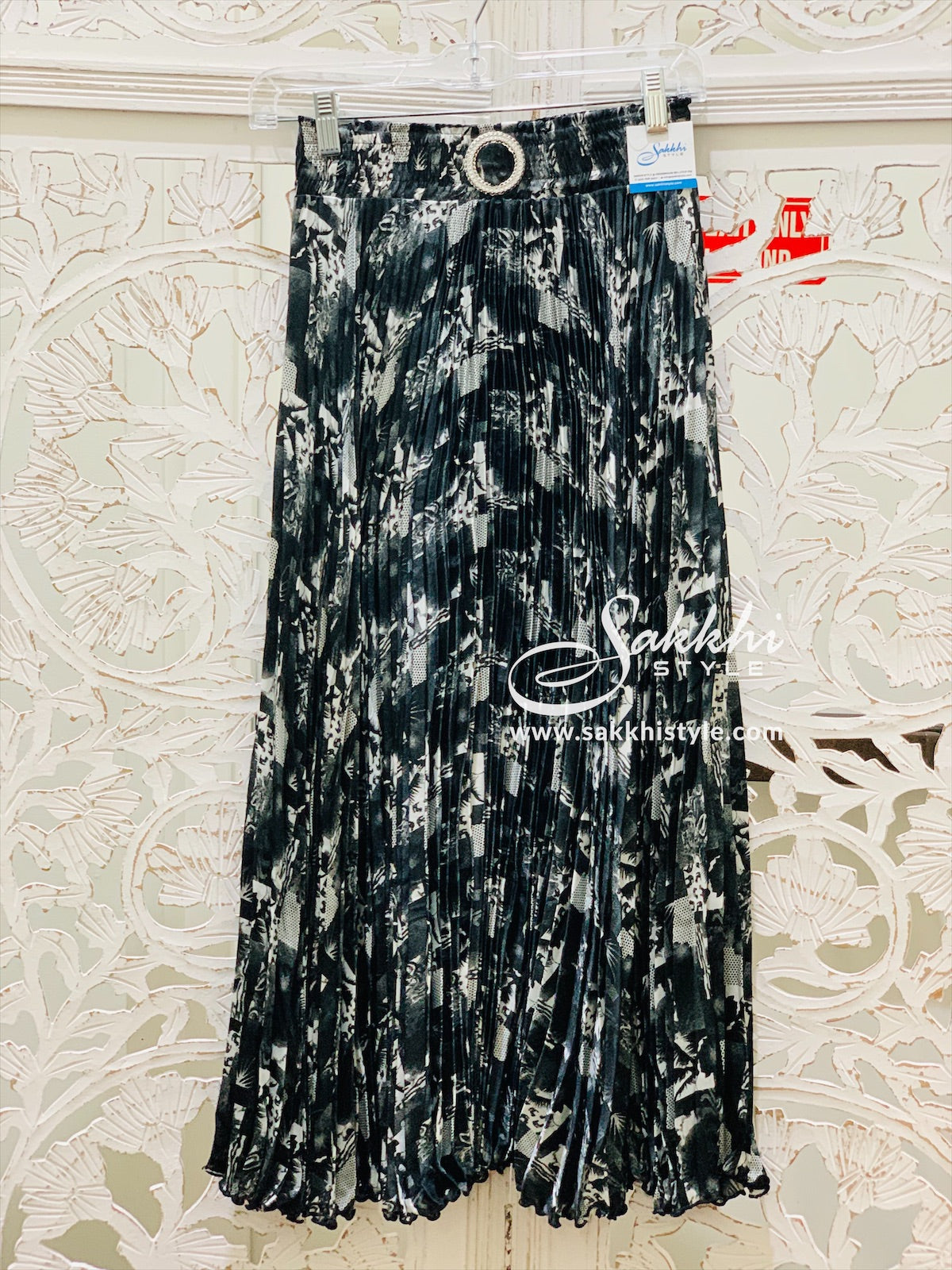 White and Black Floral Skirt - Sakkhi Style